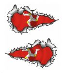 SMALL Long Pair Ripped Metal Design With Isle Of Man Mann Manx Flag Motif Vinyl Car Sticker 73x41mm